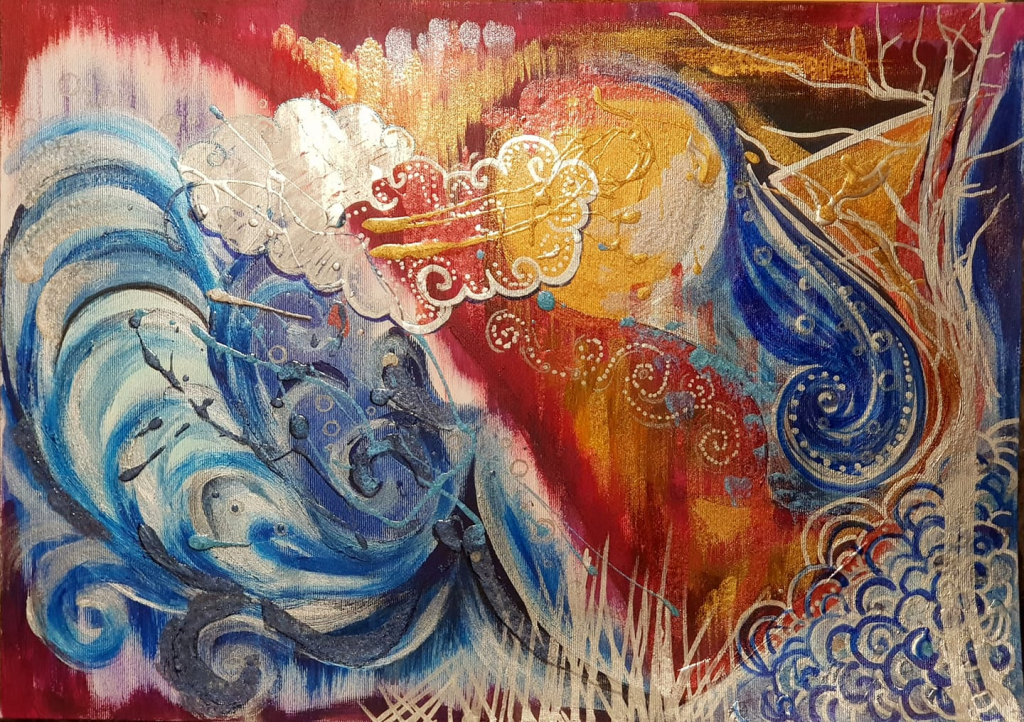 Fire Storm Acrylic Painting